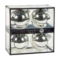 silver glass Christmas decorations box of 4 10cm