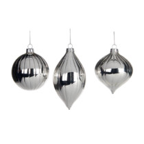 set of 3 silver glass hanging ornaments 3 shapes finial onion and round 8cm