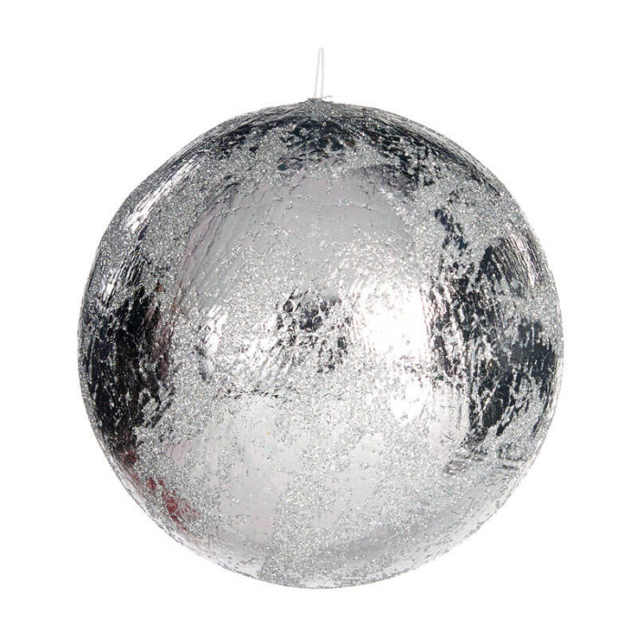 large silver bauble 13cm crackled finish