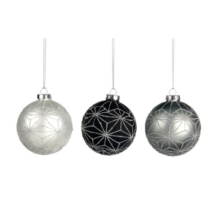 three glass baubles white grey and black with silver glitter star pattern