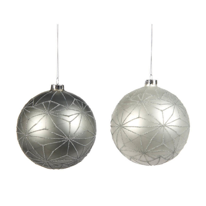 white and grey 12cm glass bauble with silver glitter star pattern
