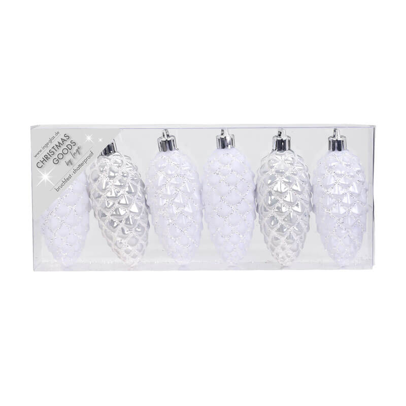 white shatterproof pinecone decorations set of 6