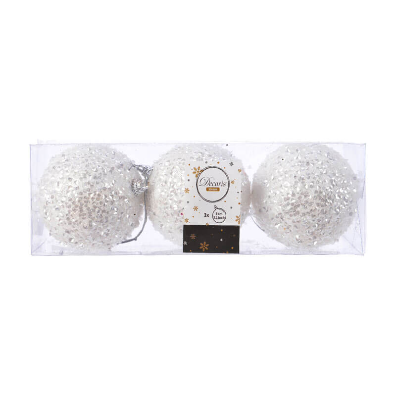 pack of 3 foam white glitter baubles 8cm