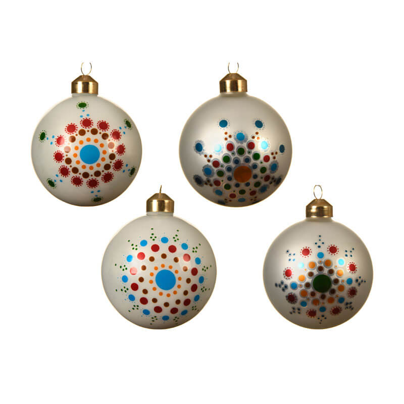 white glass baubles with bright coloured dots in a flower pattern