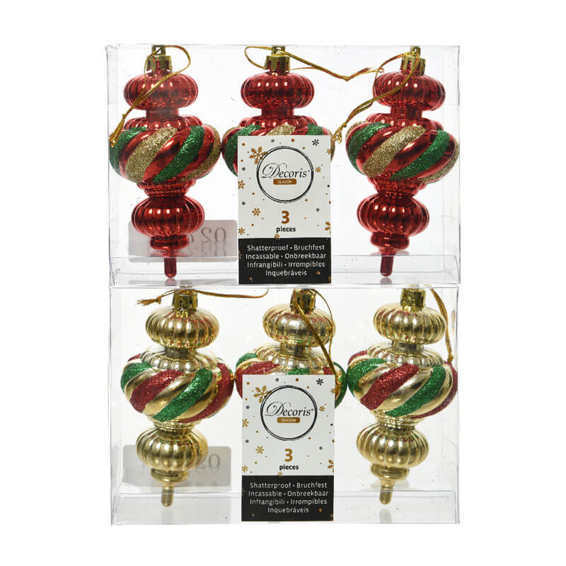 2 sets of 3 shatterproof finials in gold red and green swirl stripes