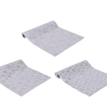 group of three white fabric tablerunners with silver pattern 3 styles 2m