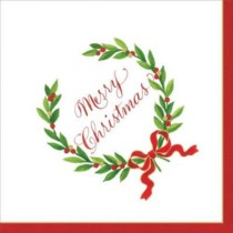 caspari-christmas-napkin-cocktail-merry-christmas-laurel-wreath-purely-christmas-X19CAC14151