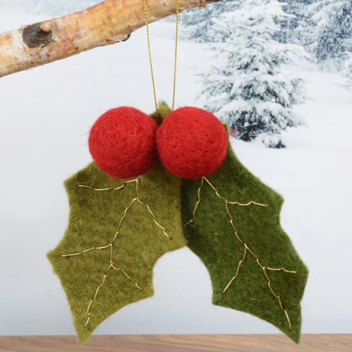 hanging-felt-holly-decoration-purely-christmas-91549