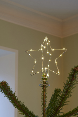Silver Christmas tree star with silver lights