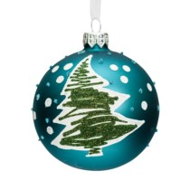 turquoise blue glass bauble with green flocked tree