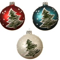 set of 3 glass baubles with flock tree 1 red 1 white 1 blue 8cm