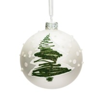 white glass bauble with green flocked tree 8cm