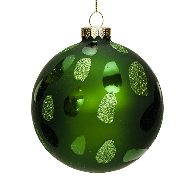 glass green 8cm bauble with flecks