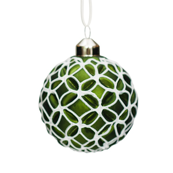 green glass bauble with white geometric decoration