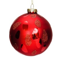glass red 8cm bauble with flecks