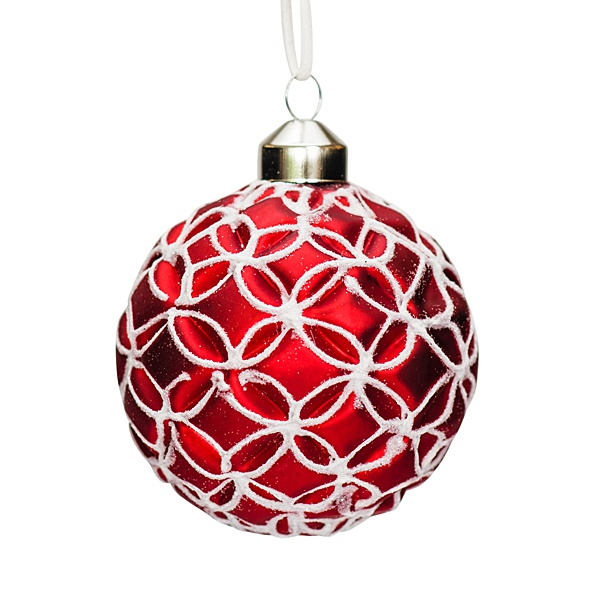 red and white glass bauble with white flower pattern 8cm