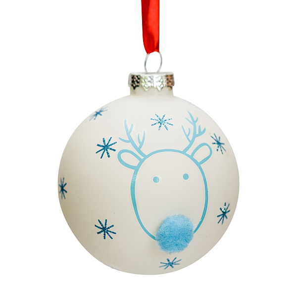 white glass bauble with blue reindeer and pompom nose