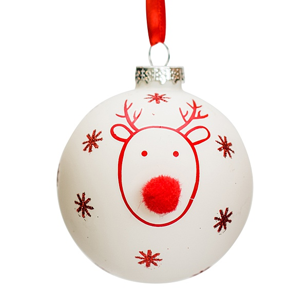 white glass bauble with red reindeer and red pompom nose, 8cm