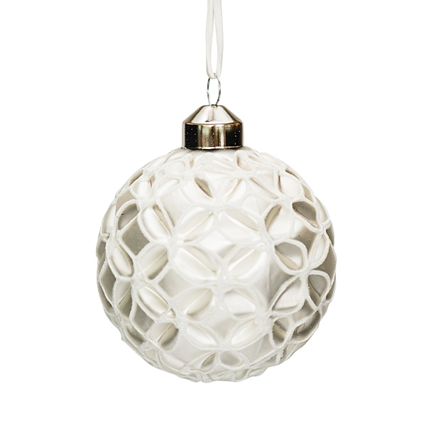 white glass bauble with white flower pattern 8cm