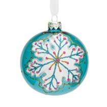 turquoise glass bauble with snowflake pattern 8cm