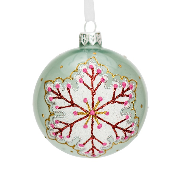 green glass bauble with snowflake pattern 8cm