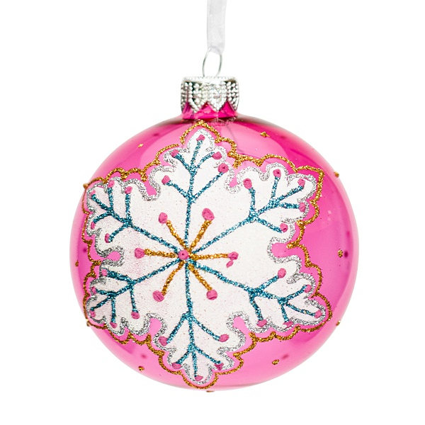 pink glass bauble with snowflake pattern 8cm