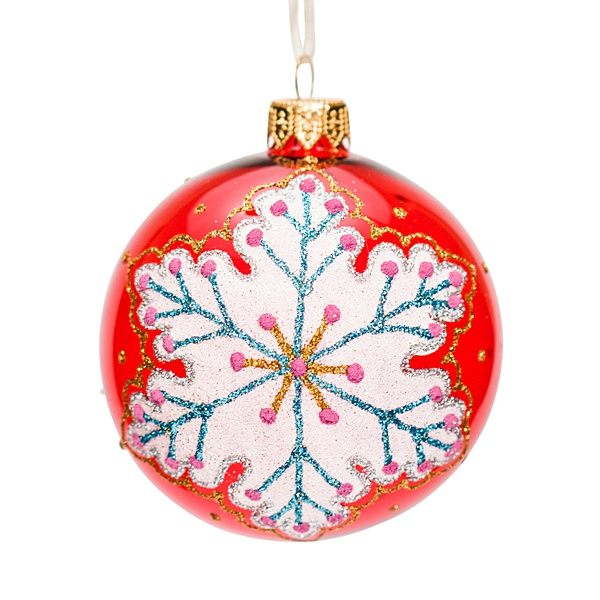 red glass bauble with snowflake pattern 8cm