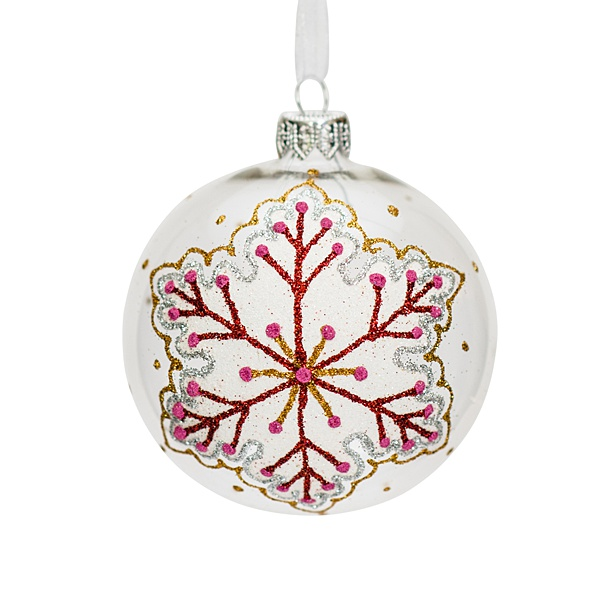 white glass bauble with snowflake pattern 8cm