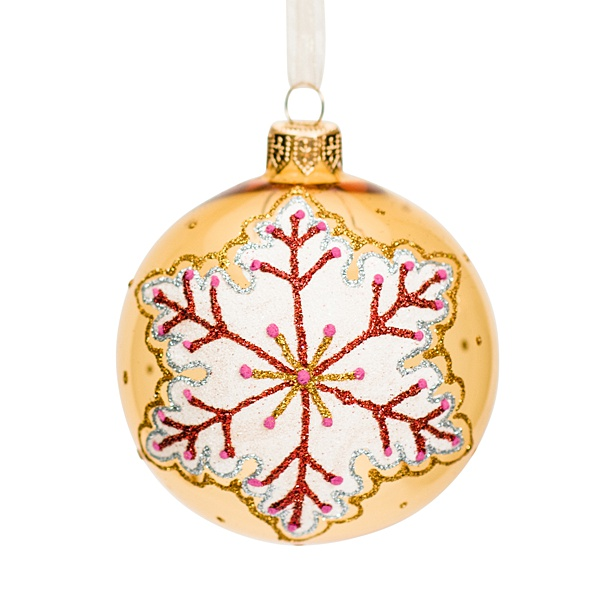 yellow glass bauble with snowflake pattern 8cm
