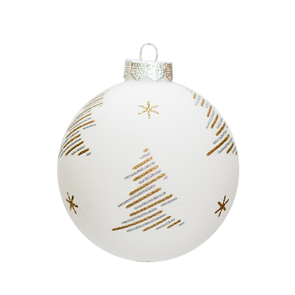 white glass bauble 8cm with tree motif in gold and silver stripes