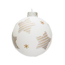 white glass bauble 8cm with star motif in gold and silver stripes