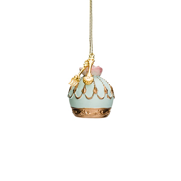 pale blue cake hanging decoration with gold details