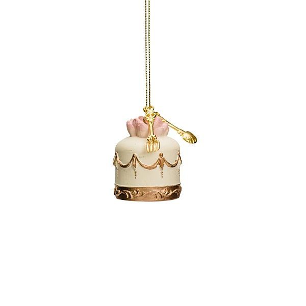 pale yellow hanging cake decoration with gold details