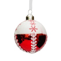 red and white glass bauble with white fabric attached