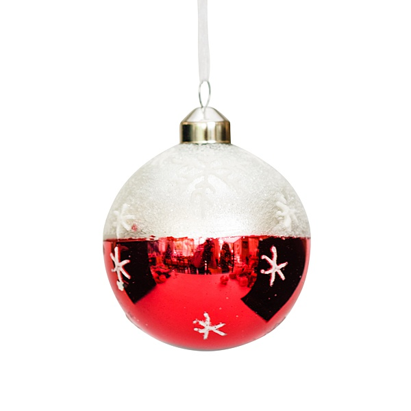 red and white glass bauble with snowflakes