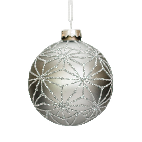 matt silver glass bauble with silver glitter geometric pattern