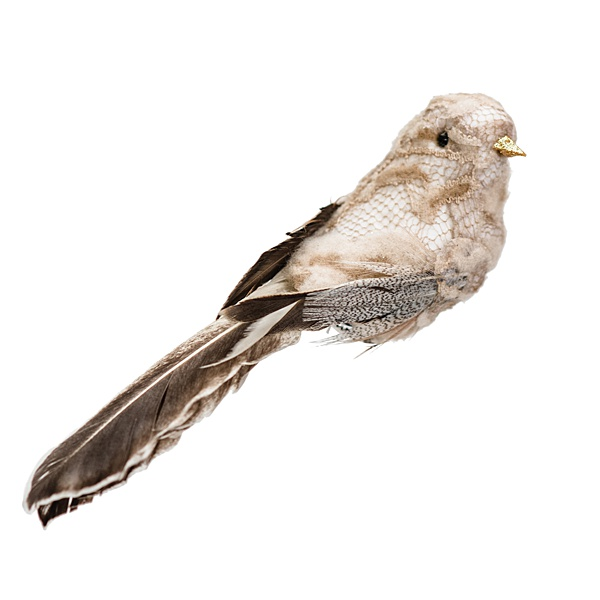 single cream brown clip on bird decoration