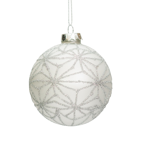 white glass bauble with silver star pattern