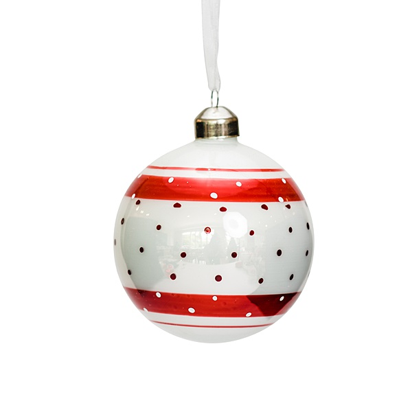 red and white glass bauble 1