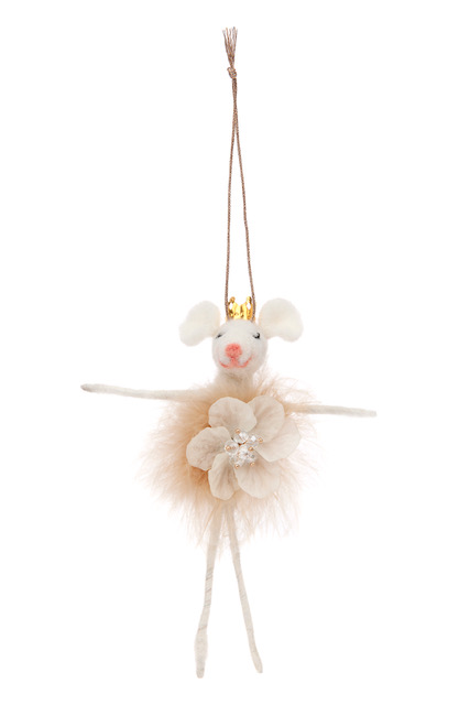 felt flower fairy mouse hanging decoration with a gold crown