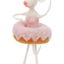 felt ballerina mouse in pink doughnut tutu