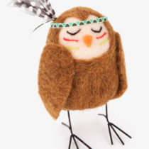 small felt standing owl with metal legs and feathered headband