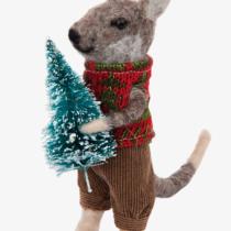 felt kangaroo dressed in christmas jumper holding a christmas tree