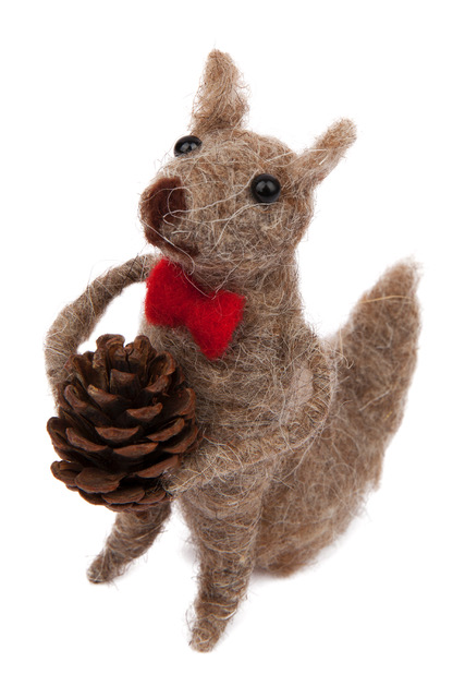 felt brown squirrel holding small pinecone