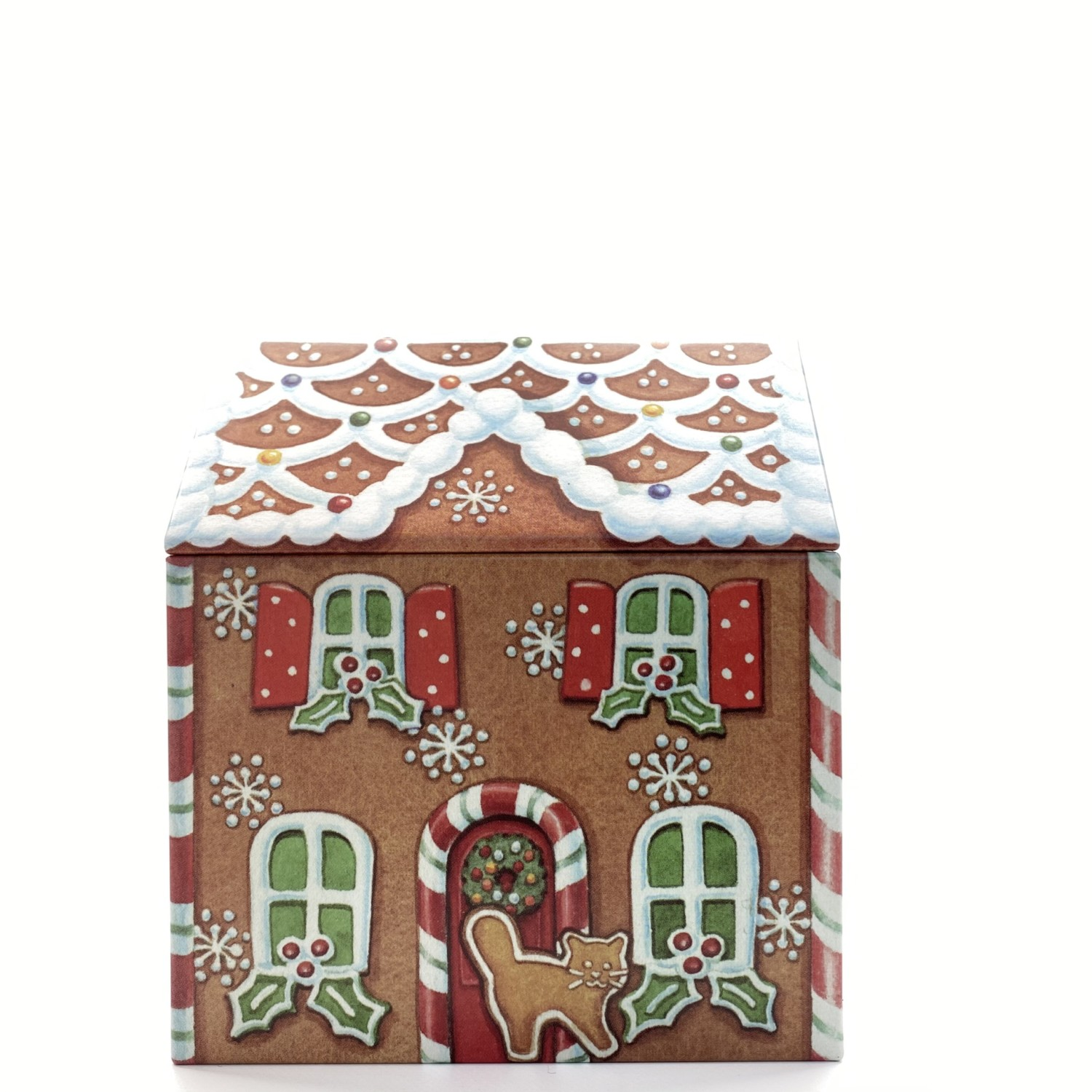 gingerbread house shaped tin front view