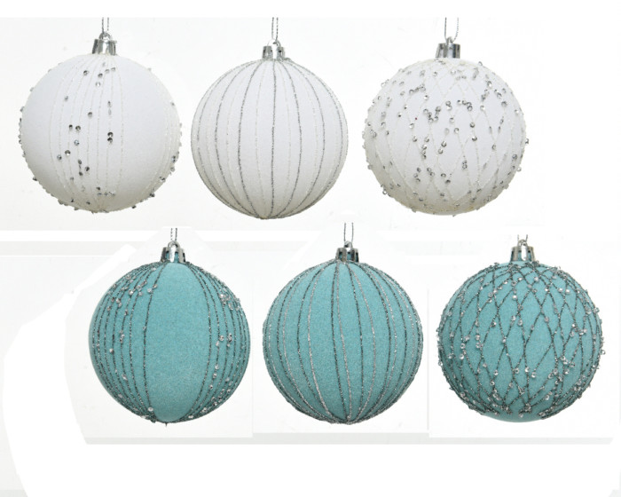 3 white and 3 blue shatterproof baubles 8cm