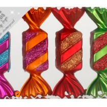 set of 4 shatterproof candy shaped ornamenst in bright colours