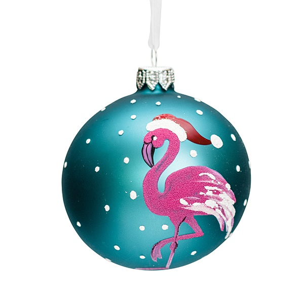 aqua blue glass bauble with white dots and a with hot pink flamingo wearing santa hat