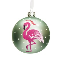 mint green 8cm glass bauble with white dots and a hot pink flamingo wearing a Santa hat
