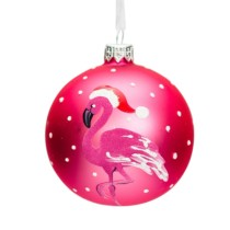 hot pink glass bauble with white dots and a with pink flamingo wearing a santa hat